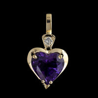 14K Yellow Gold Amethyst and Diamond Heart Pendant/Enhancer