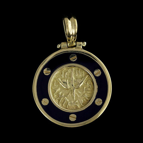 18K Yellow Gold Blue Enamel Holy Spirit Medal