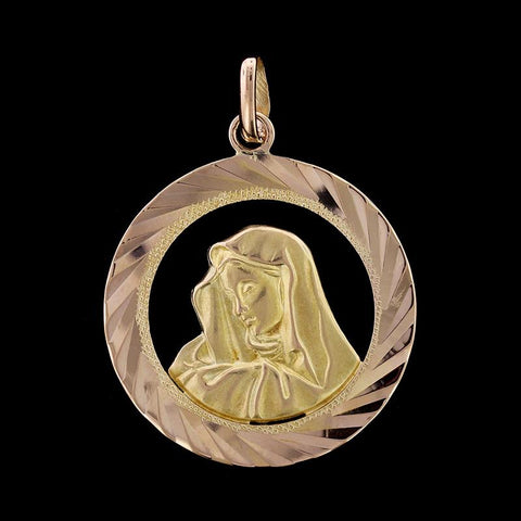 18K Yellow Gold Virgin Mary Medal