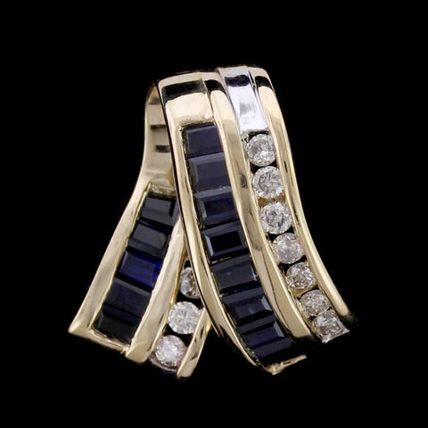 14K Yellow Gold Sapphire and Diamond Slide Pendant