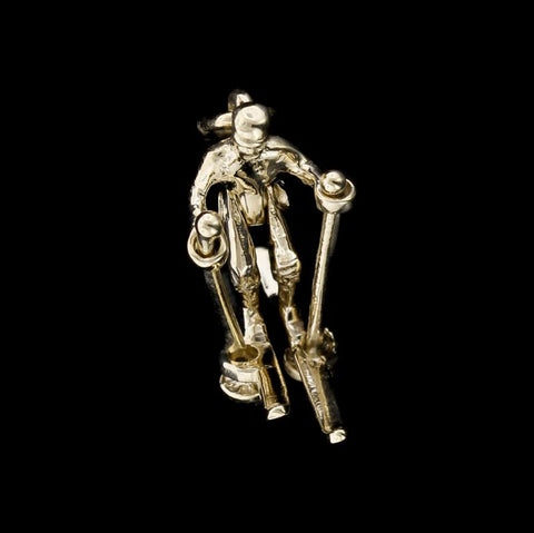 14K Yellow Gold Movable Skier Charm