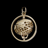 14K Yellow Gold Moving Globe Charm