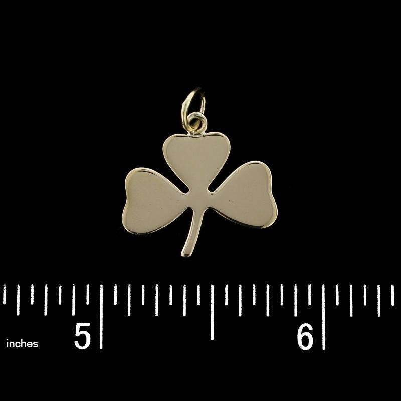 14K Yellow Gold Clover Charm