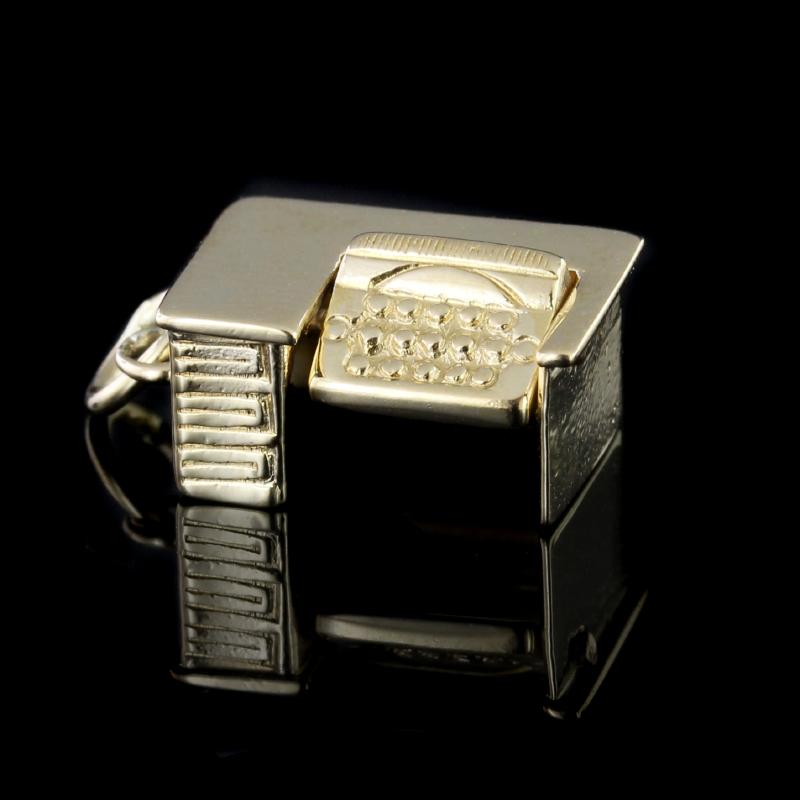14K Yellow Gold Estate Desk with Rotating Keyboard Charm