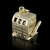 14K Yellow Gold Moving Slot Machine Charm