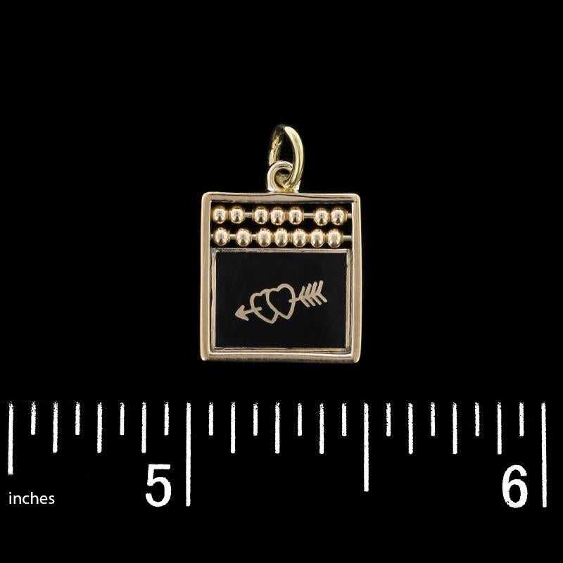 14K Yellow Gold Estate Enamel Abacus I Love You Reversable Charm