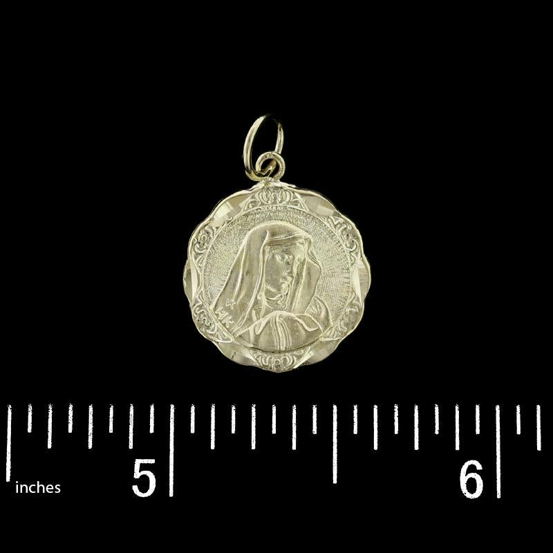 14K Yellow Gold Estate Reversible Jesus and Mary Medal