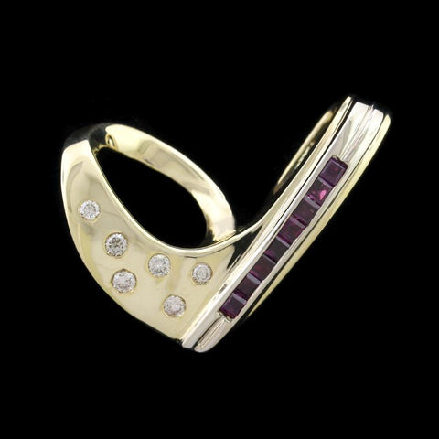 14K Yellow Gold Garnet and Diamond Slide Pendant