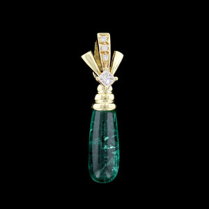 18K Yellow Gold Emerald and Diamond Pendant/Enhancer