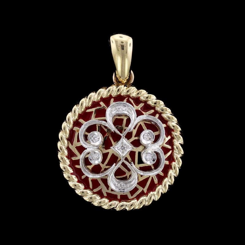 14K Two-Tone Gold Estate Enamel and Diamond Pendant