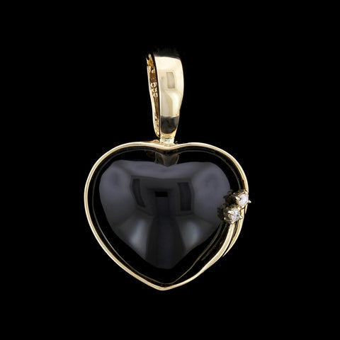 14K Yellow Gold Onyx and Diamond Heart Pendant/Enhancer
