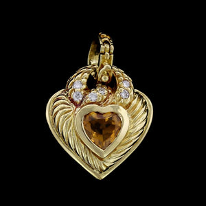 Judith Ripka 18K Yellow Gold Estate Citrine and Diamond Heart Pendant/Enhancer