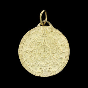 18K Yellow Gold Mayan Sun God Medallion