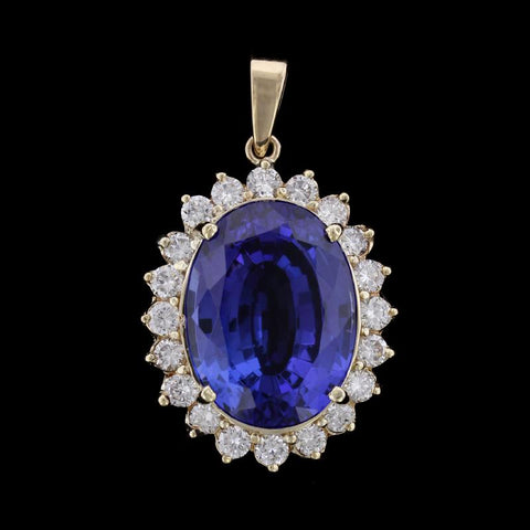 14K Yellow Gold Estate Tanzanite and Diamond Pendant