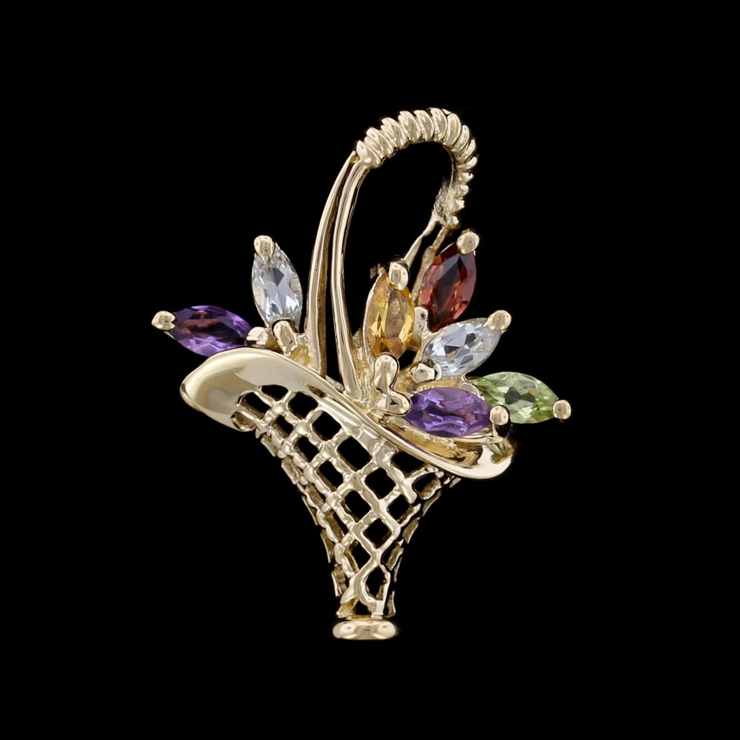 14K Yellow Gold Gem-Set Basket Charm
