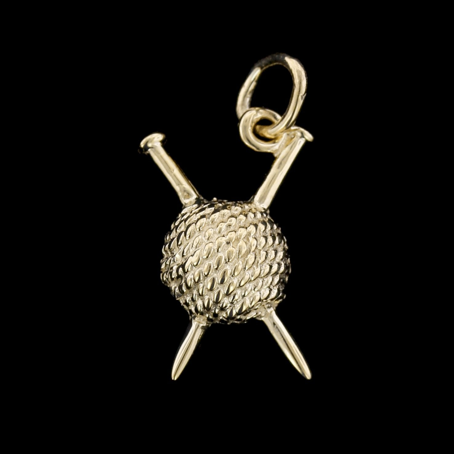 14K Yellow Gold Ball of Yarn with Knitting Needles Charm