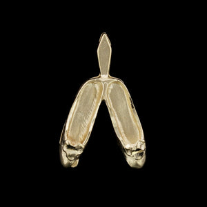 14K Yellow Gold Estate Ballet Slippers Charm