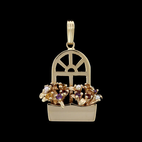 14K Yellow Gold Gem-Set Window Flower Box Charm