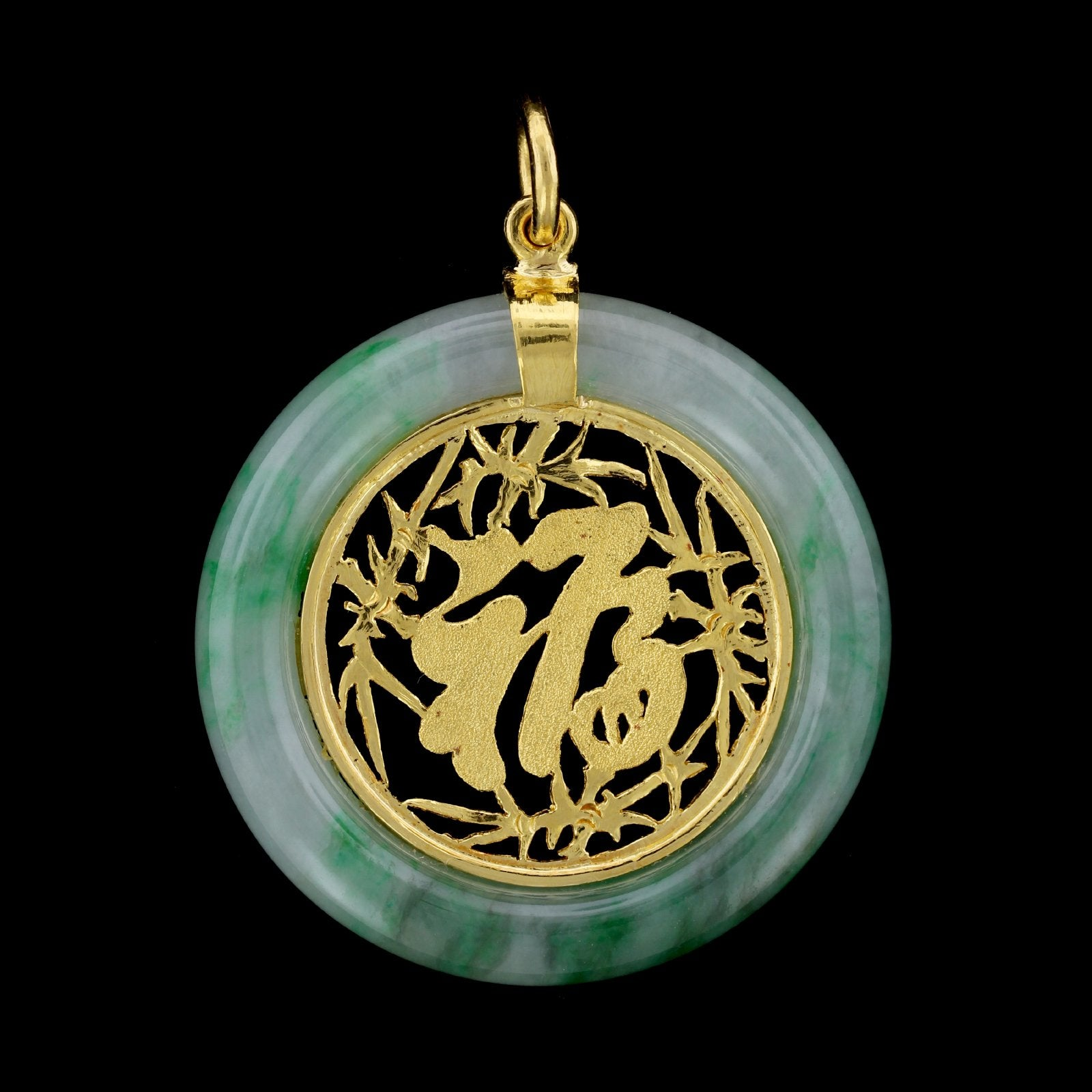 24K Yellow Gold Jadeite Pendant