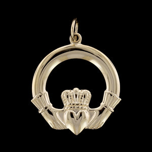 14K Yellow Gold Estate Claddagh Charm