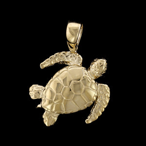 14K Yellow Gold Turtle Charm