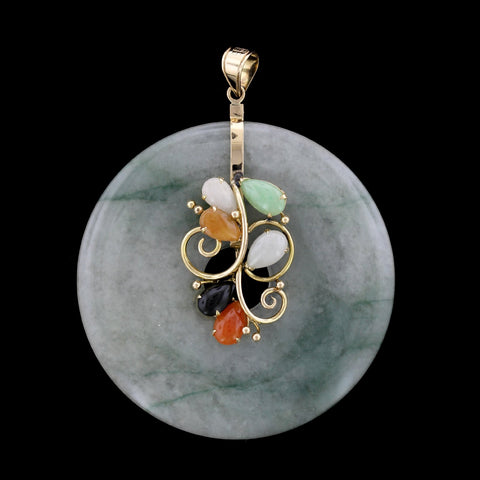 14K Yellow Gold Jadeite Circle Pendant