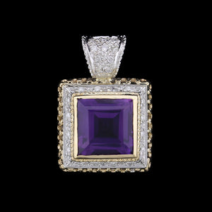 14K Two-Tone Gold Estate Amethyst and Diamond Pendant