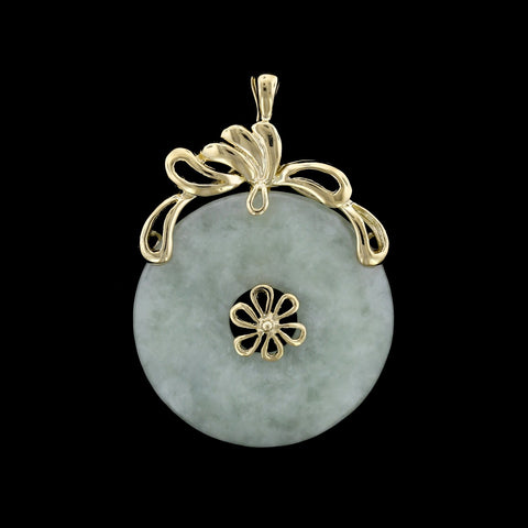 14K Yellow Gold Jadeite Pendant/Enhancer
