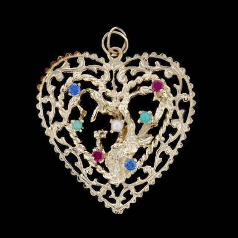 14K Yellow Gold Tree of Life Heart Charm