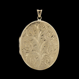 14K Yellow Gold Engraved Locket, Birmingham, England
