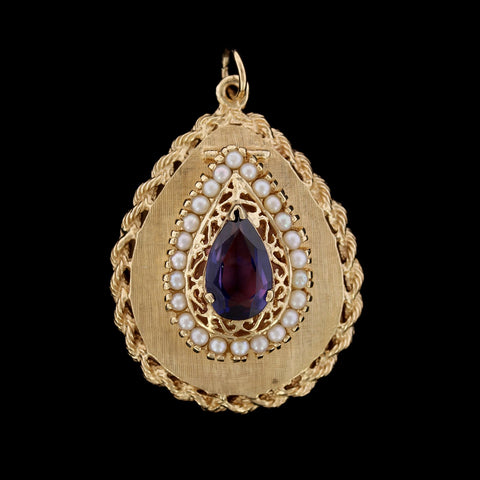14K Yellow Gold Synthetic Sapphire and Cultured Pearl Locket Charm