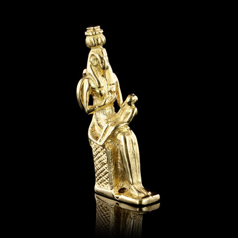 18K Yellow Gold Egyptian Mother and Child Charm