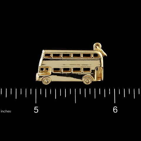 9K Yellow Gold Estate Double Decker Bus Charm