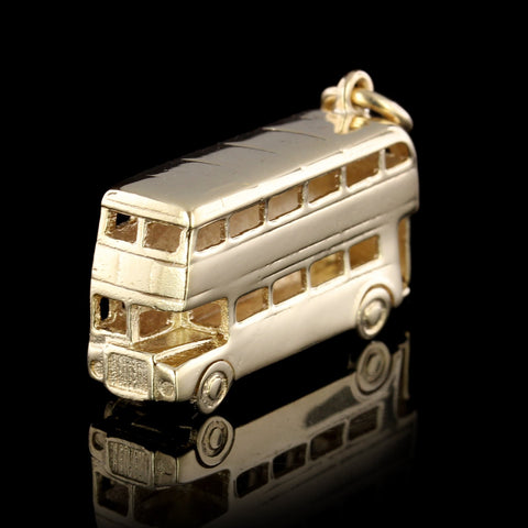 9K Yellow Gold Double Decker Bus Charm