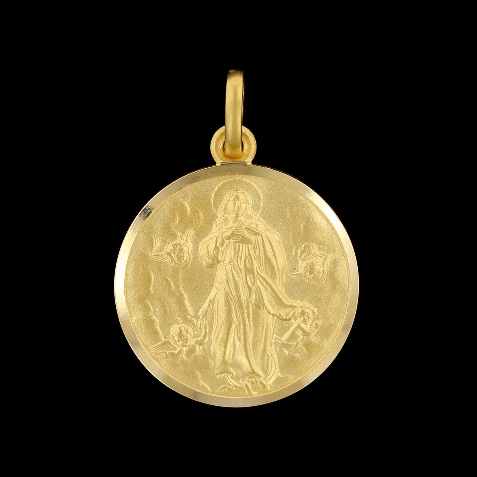 18K Yellow Gold Estate Medal of Mary Charm