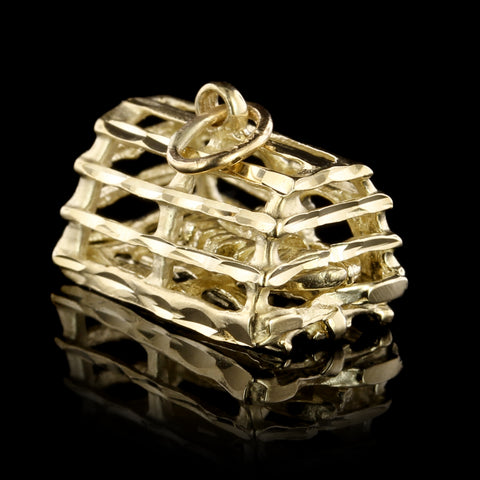 14K Yellow Gold Lobster Trap Charm