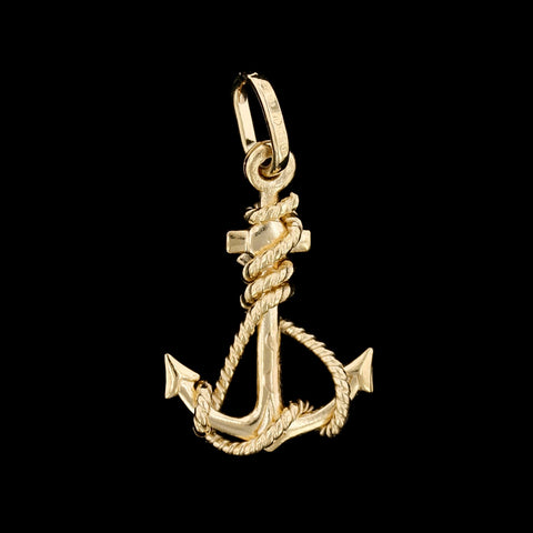 18K Yellow Gold Anchor Charm