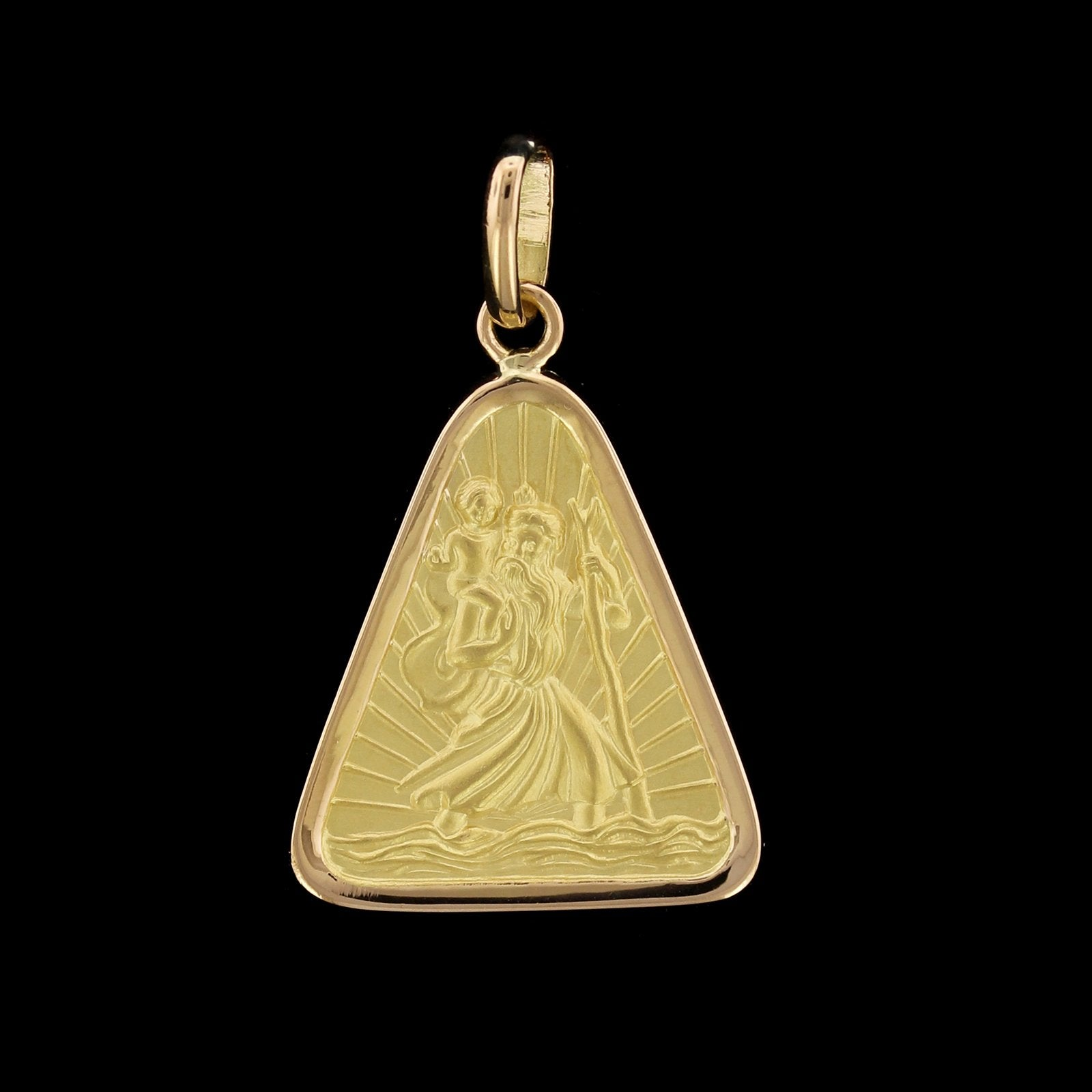 18K Yellow Gold Estate St. Christopher Medal