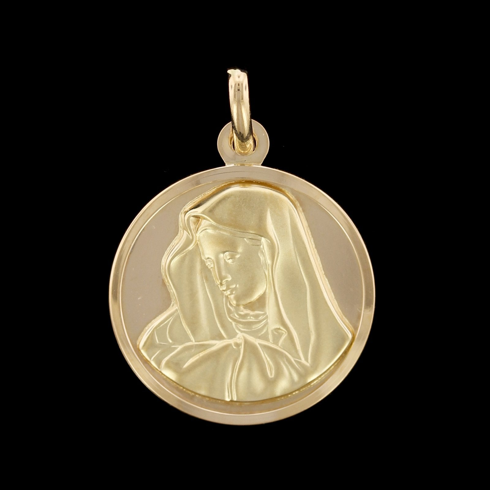 18K Yellow Gold Virgin Mary, Madonna Medal