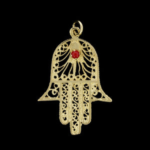 14K Yellow Gold Estate Hand of Hamsa Charm