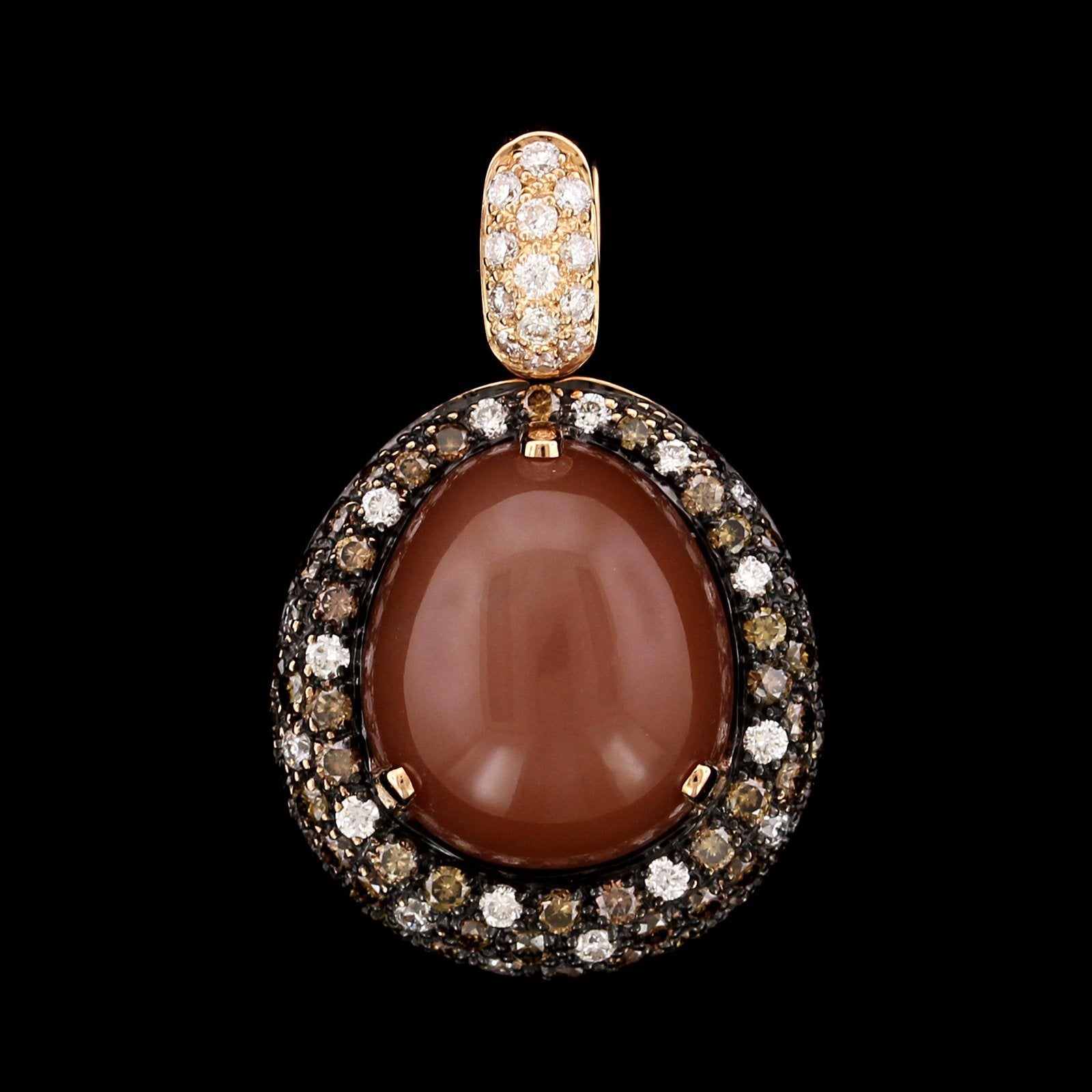 18K Rose Gold Chocolate Moonstone and Diamond Pendant