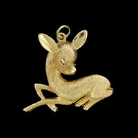 14K Yellow Gold Estate Deer Fawn Charm