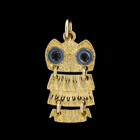 14K Yellow Gold Moving Owl Charm