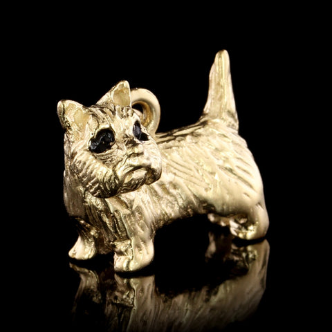 14K Yellow Gold Estate Terrier Dog Charm