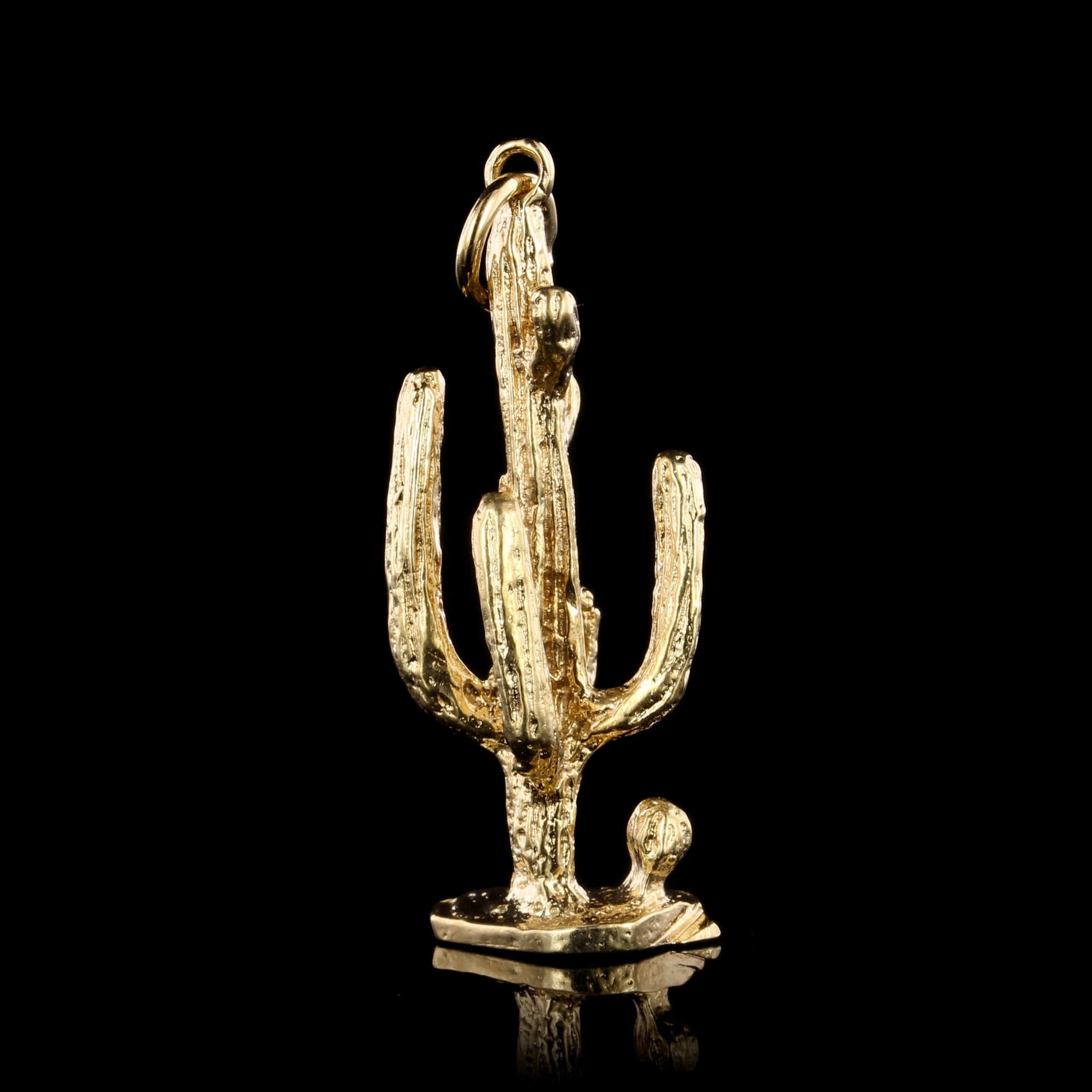 14K Yellow Gold Estate Saguaro Cactus Charm