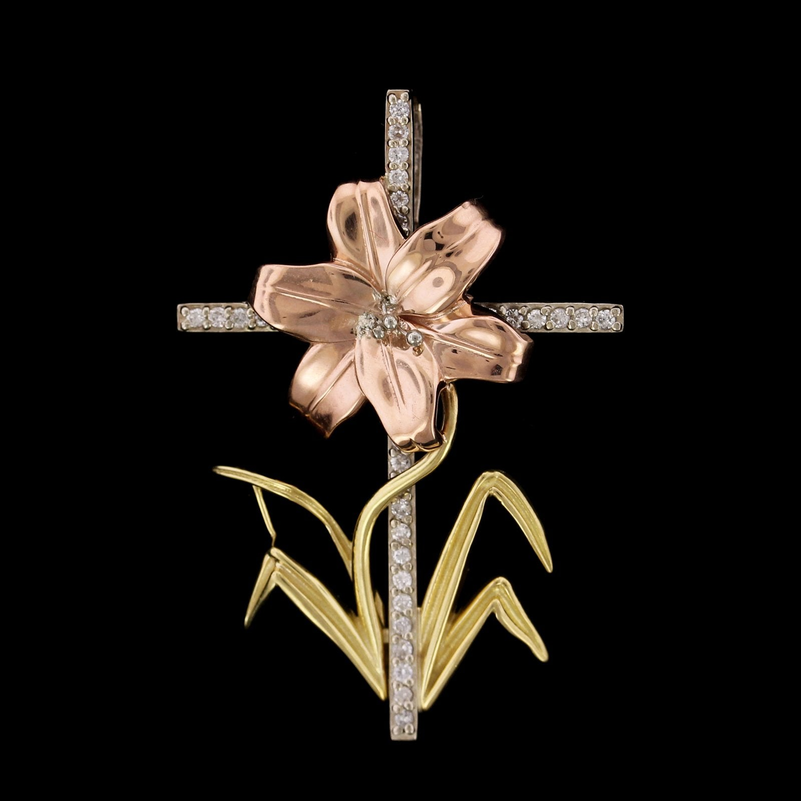14K Tricolor Gold Estate Diamond Flower Cross