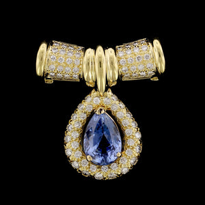18K Yellow Gold Sapphire and Diamond Slide Pendant