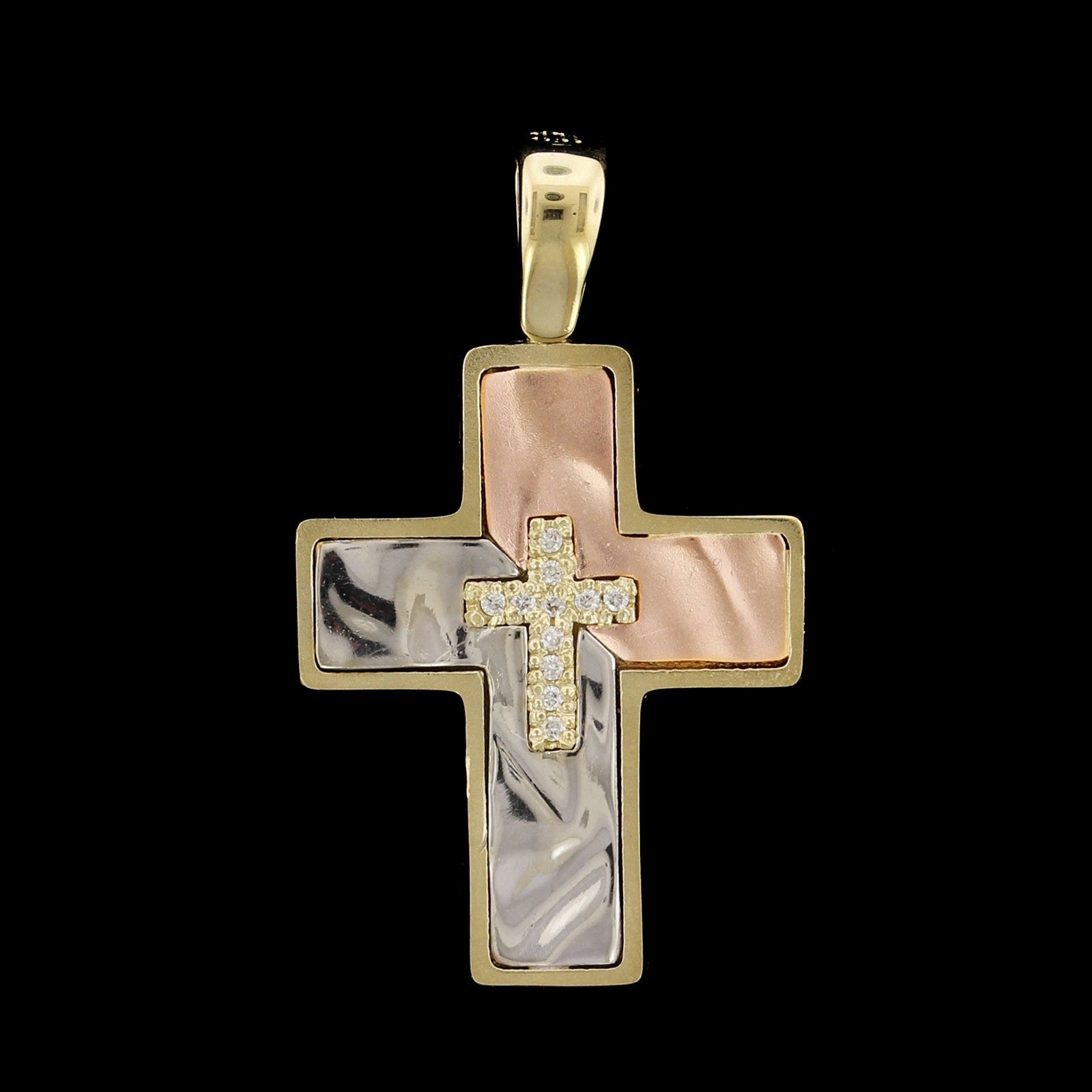 14K Tricolor Gold Estate Diamond Cross