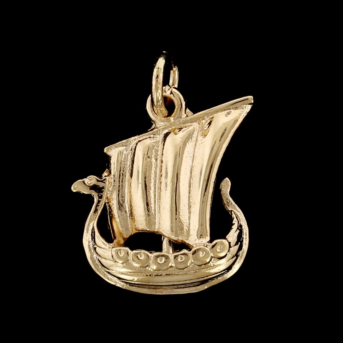 14K Yellow Gold Estate Viking Ship Charm