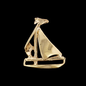14K Yellow Gold Estate Saolboat Charm